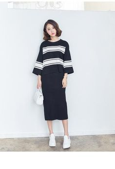 Korean fashion striped top sweater and skirt two pieces - AddOneClothing - 7