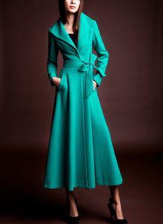 Turquoise/ Blue wool Jacket Women dress Autumn by happyfamilyjudy, $159.99