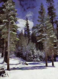 Fresh Dusting - Painting - WickedRefined - blue; brown; California; clouds; Demereckis, N.D., Wicked Refined; digital art; Eastern Sierra; Fir, Abies; green; Landscape; Mammoth Mountain, Inyo National Forest; pine tree, Pin, Pinus; Pinus Contorta, Lodgepole pine, shore pine, twisted pine, contorta pine; powder; scenic, scenery, no people, scene; snow; tree, trees; United States, America, USA, White Fir, Abies Concolor, canvas prints, prints, metal prints, acrylic prints, framed prints,