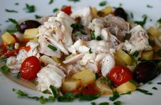 """Roasted Whitefish With Vegetables (""""Choose firm textured fish fillets such as grouper (cernia), cod (merluzzo) or sea bass (branzino/tengeri sügér, farkassügér) for this recipe, at least one inch thick. You can substitute other vegetables for the ones given, but I would always use the potatoes and tomatoes. Other options I would suggest are onions, leeks, mushrooms, spinach, or artichokes."""")"""