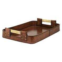 This tray from the Andres Collection is constructed of thick, high quality buffalo hide with hand-stitched detail and antiqued brass buckles.