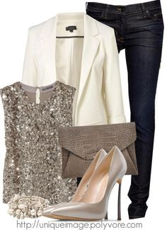 white blazer and some sparkle for the holiday season!