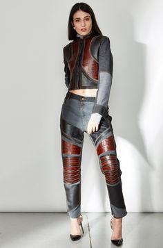 Leather Embellished Boyfriend Jeans