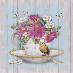 bird cup butterflies and flowers