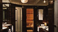 The luxurious bathroom of The Presidential Suite features a private sauna and steambath, Ritz Carlton, Wicklow Traffic Camera, Temple Bar, Dublin City, Rooftop Terrace, Wedding Night, Hotels And Resorts, Real Estate, Interior Design, Luxury
