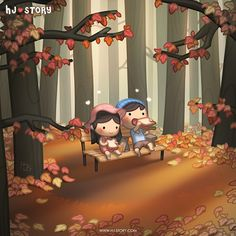 This was the image drawn for previous Korea's big holiday Chusok (Mid Autumn Festival) and I didn't have time to do a regular episode! Instead I decided to draw a Fall version of Just You & Me ...