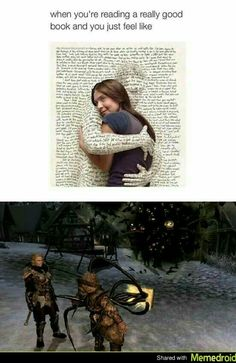 I flipped when this happened! I was trying to figure out how to kill (burn) the book while silently pleading for the guy to live so I didn't get killed. Video Game Memes, Video Games Funny, Funny Games, Elder Scrolls Memes, Elder Scrolls Skyrim, Gamer Humor, Gaming Memes, Yolo, Skyrim Funny