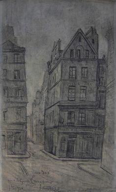 Combes Fernand - Charcoal - Vieux Paris, rue de la grande Truanderie - ~59x33.5cm; dessin daté de 1910.