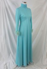 Alden Fashions Chicago Dress M Vintage 1960s Maxi Blue Knit Maribu Long Sleeves