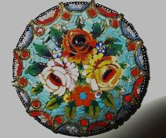 Micro Mosaic Brooch  Love the details, colours