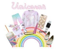 """Pink Fluffy Unicorn dancing on Rainbow♘"" by casetify ❤ liked on Polyvore featuring mode, Casetify, Skinnydip, Pink, rainbow et unicorn"