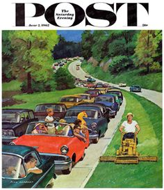 Speeder On The Median by Richard Sargent, June 2, 1962, The Saturday Evening Post.