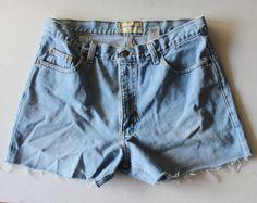 Vintage 90s Eddie Bauer Cut Off Denim Shorts // Women Large Petite by bluebutterflyvintage on Etsy