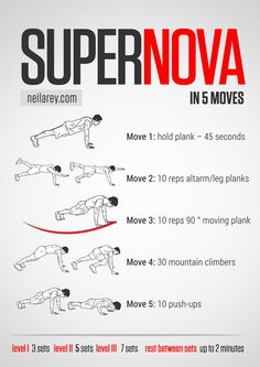 Supernova in 5 moves / works: lower abs, upper abs, shoulders, chest, triceps, biceps, glutes, core
