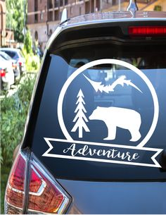 Adventure decal for your car, camping decal for your car Get Outdoors, Car Decals, Camping, Cars, Unique Jewelry, Handmade Gifts, Etsy, Adventure, Campsite