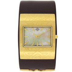 Nanette Lepore Women's Wonder Woman Mother of Pearl Leather Cuff Watch ($125) ❤ liked on Polyvore featuring jewelry, watches, brown, mother of pearl jewelry, logo watches, leather cuff watches, leather cuff wrist watch and water resistant watches