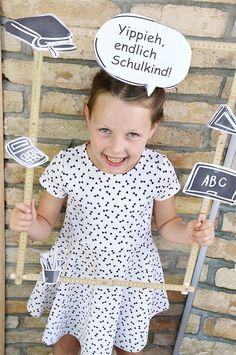 Photo Booth Foto Probs zum Ausdrucken für die Einschulung * Lustige Foto Accessoires für besondere Fotos * Das Einschulungsfoto mal anders *