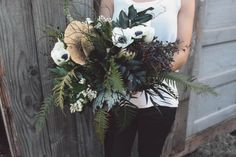 Forest Bouquet. Large. Wild. Draping. Ferns. Mushrooms. Twigs. Privet Berries. White Anenomes. White Tulips. Begonia Leaves. Oregon Grape Leave. Bridal. Wedding.