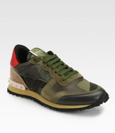 Valentino Camouflage Leather Suede Sneakers in Multicolor (green) | Lyst