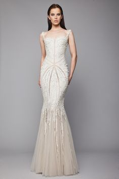 Tony Ward Sequin embroidered Greige mermaid dress in Tulle, with square neckline and sheer cutouts.