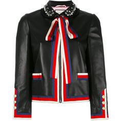 Gucci embellished bow tie jacket ($3,675) ❤ liked on Polyvore featuring outerwear, jackets, black, gucci jacket, gucci, button jacket and embellished jacket