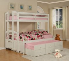comely-small-kids-bedroom-design-displaying-calming-paint-accent-walls-color-schemes-and-white-wooden-bunk-beds-with-trundle-be-equipped-pink-mattress-includes-colorful-polka-dots-blanket-1120x991.jpg (1120×991)