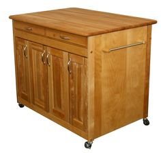 Features:  -Adjustable internal shelves.  -Spice rack and towel bar.  -Locking caster wheels.  -Made in the USA.  -Removable caster: Yes.  -Finish back: Yes.  Product Type: -Kitchen Island/Butcher Blo