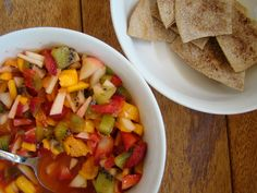 Fruit Salsa & Cinnamon Tortilla Chips by anappetiteforjoy #Snack #Fruit #Chips #Healthy