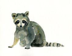 RACCOON -ACEO print-Children's Decor-Art for Children-kids wall art-Nursery art -Animal lover