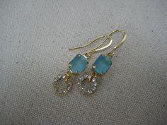 Earrings, Vintage Aquamarine,Blue, Octagon, Frosted Matte, Glass Stones,Vintage Swarovski Rhinestones, Wedding, Gold Tone, Dangle,Drops /E76