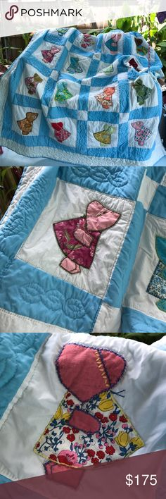 Precious little Dutch Girl handmade quilt This quilt is in like new condition, and just looks darling in a little girls bedroom, or a guest room! Just about anyplace, use as a tablecloth with glass over to protect it. Use for a throw in the den! It had almost every color imaginable, so it would look pretty anywhere. I used it over a white spread on my King size bed. It's a full, but can adapt to what your use for it might be. Other