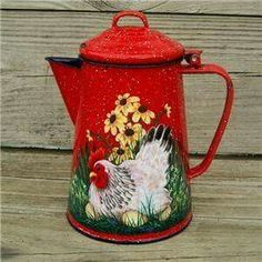 Vintage Enamel White Coffee Pot - hand painted with rooster wildflowers… Painted Milk Cans, Painted Pots, Hand Painted, Rooster Kitchen Decor, Rooster Decor, Chicken Painting, Chicken Art, Tole Decorative Paintings, Tole Painting