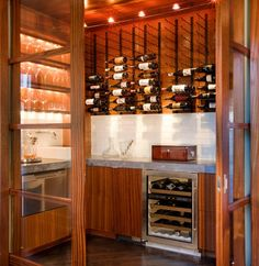 Contemporary Wine Room Made Out Of A Powder Room, Contemporary Wine Cellar, Austin