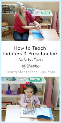 Learn how to use Montessori ideas to gently teach toddlers and preschoolers to take care of books at home or in the classroom. Montessori Toddler, Montessori Activities, Toddler Preschool, Learning Activities, Preschool Activities, Montessori Room, Infant Toddler Classroom, Maria Montessori, Toddlers And Preschoolers