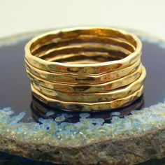 Hammered 5 Band Gold Stacking Ring Set by forkwhisperer on Etsy, $49.00