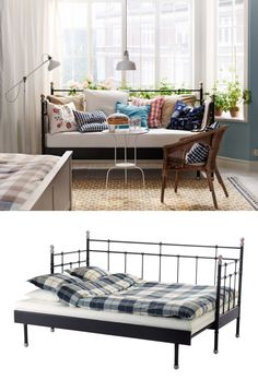 Create a welcoming bedroom away from home for guests with the SVELVIK daybed. It can pull out from twin size to sleep two.: