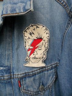 Ziggy Stardust Embroidered Patch/Brooch. £8.00, via Etsy. I obviously need this.