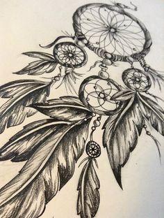 Boho bohemian gypsy hippie style art dream catcher feathers pencil drawing charcoal original