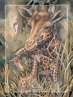 Bergsma Gallery Press :: Paintings :: Natural Elements :: Wild Land Animals :: Hooved Animals :: Gentle Presence, Teach Us Peace - Prints Jungle Animals, Cute Animals, Wild Animals, Giraffe Pictures, Giraffe Art, Wildlife Art, Animal Paintings, Art Images, Animals Beautiful