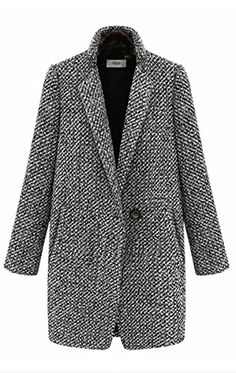 Women's Vogue Lapel Wool Cashmere Parka Wind Coat Trench Jacket
