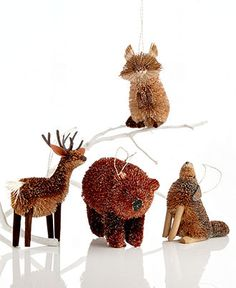 Martha Stewart Collection Christmas Ornaments, Set of 4 Woodland Animals - Table centerpiece for little ones with birch slices and bottle brush trees