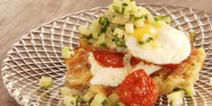 Asian Food Channel - Potato Latkes With Roasted Tomatoes, Zucchinis And Fried Eggs