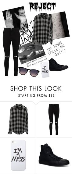 """""""Under the shirt"""" by metteaadahl on Polyvore featuring Rails, Boohoo, LAUREN MOSHI, Converse and Ray-Ban"""