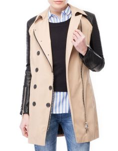 Trench with leather-look sleeves