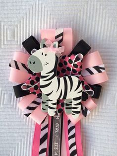 Girl Baby Shower Zebra Corsage Jungle Safari Pink Black