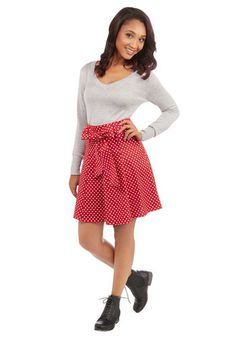 Musee Matisse Skirt in Red Dots   Mod Retro Vintage Skirts   ModCloth.com