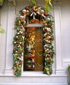 Ralph Lauren Christmas Garland around Windows Front Door Christmas Decorations, Christmas Front Doors, Christmas Wreaths, Holiday Decor, Christmas Store, All Things Christmas, Christmas Holidays, Xmas, Outdoor Christmas