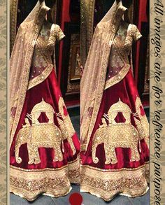1. Maroon velvet embroidered lehenga 2. Heavy embroidery work on lehenga 3. Comes with a matching unstitched blouse 4. Can be stitched upto size 42 inches