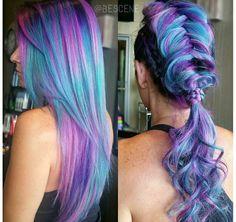 Pink blue purple hair