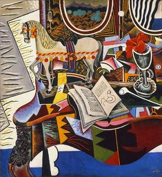 Joan Miro 'Horse, Pipe, and Red Flower' 1920 Oil on canvas 32 x 29 Harlem Renaissance, Paul Cezanne, Miro Artist, Shape Poems, Joan Miro Paintings, Spanish Painters, Spanish Artists, Philadelphia Museum Of Art, Magritte